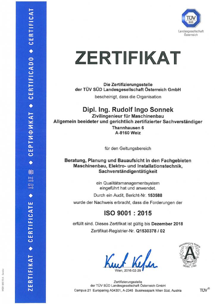 TÜV-ISO 9001-2015 Urkunde
